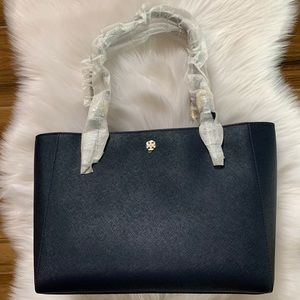 Tory Burch Emerson small buckle tote Royal Navy